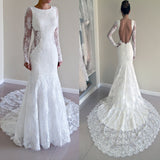 Gorgeous Round Neck Long Sleeve Sexy Mermaid Backless Lace Wedding Party Dresses, WD0040 - Wish Gown