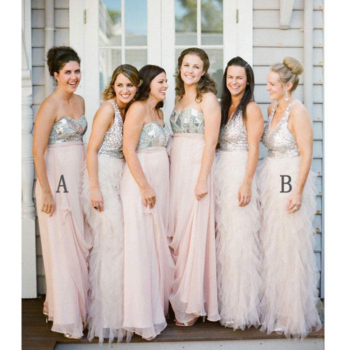 Unique Blush Pink Shinning Top Affordable Long Bridesmaid Dresses, WG410