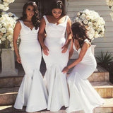 White Mermaid Sexy Cheap Elegant Long Bridesmaid Dresses, WG420