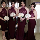 Halter Mermaid Lace Top Sexy Wedding Party Bridesmaid Dresses, WG423
