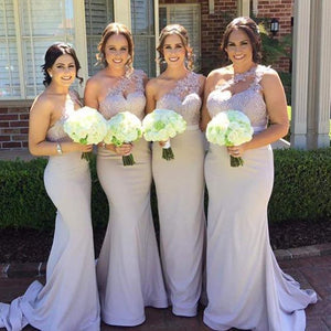 One Shoulder Mermaid Lace Top Sexy Long Wedding Party Bridesmaid Dresses, WG424
