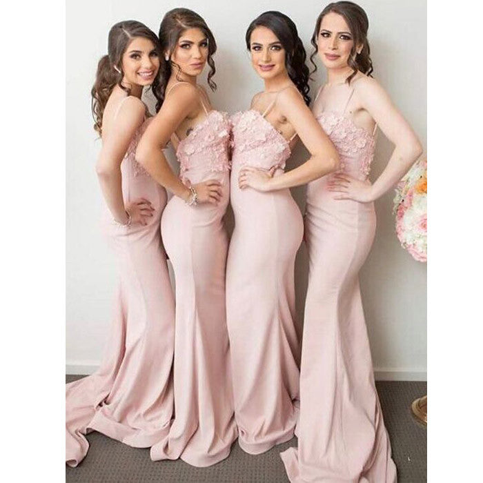 Blush Pink Charming Inexpensive Mermaid Wedding Party Long Bridesmaid Dresses, WG427 - Wish Gown