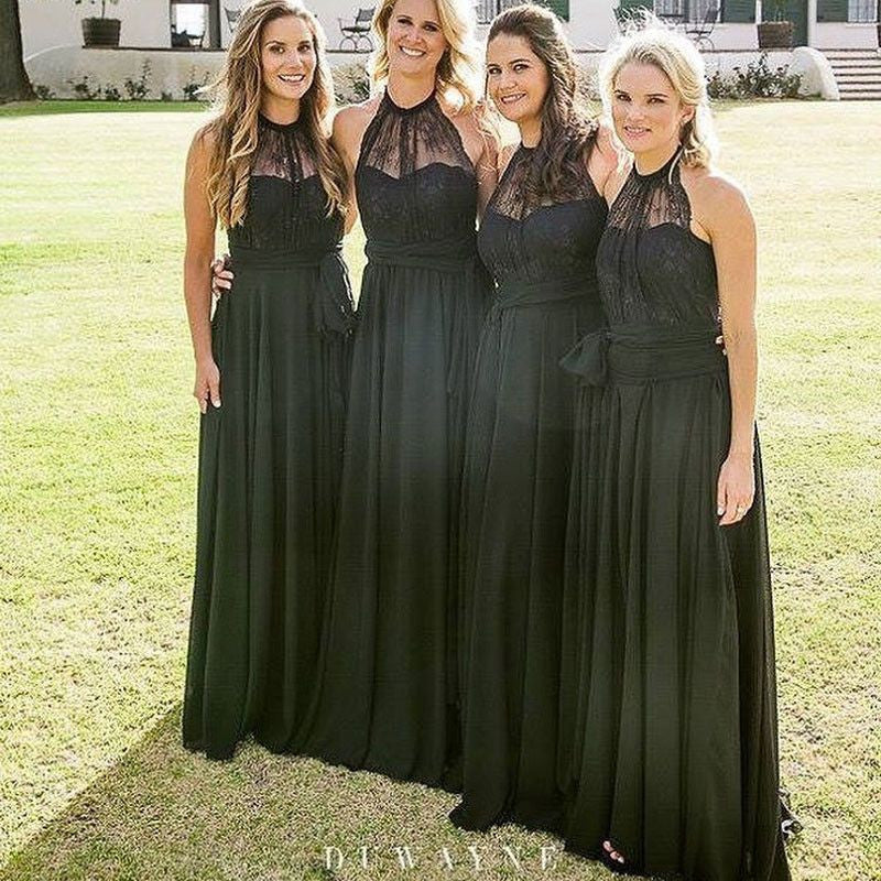 Black Top Lace Halter Chiffon Cheap Wedding Party Long Bridesmaid Dresses, WG428