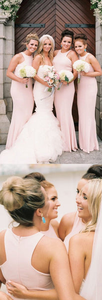 Blush Pink Mermaid Cheap Simple Elegant Wedding Party Long Bridesmaid Dresses, WG430 - Wish Gown