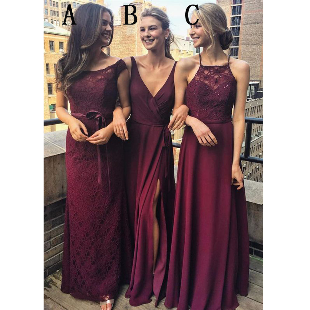 Burgundy Mismatched Charming Affordable Lace Long Bridesmaid Dresses, WG431 - Wish Gown