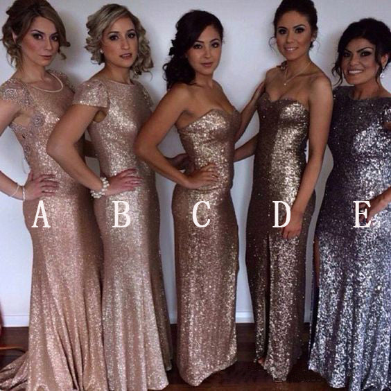 Affordable Sexy Mermaid Mismatched Long Wedding Sparkle Sequin Bridesmaid Dresses, WG432 - Wish Gown