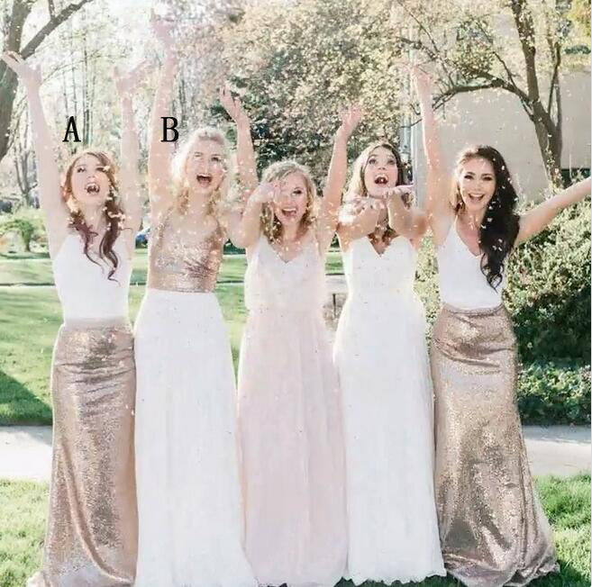 Affordable Mermaid Mismatched Long Wedding Sequin Bridesmaid Dresses, WG435 - Wish Gown