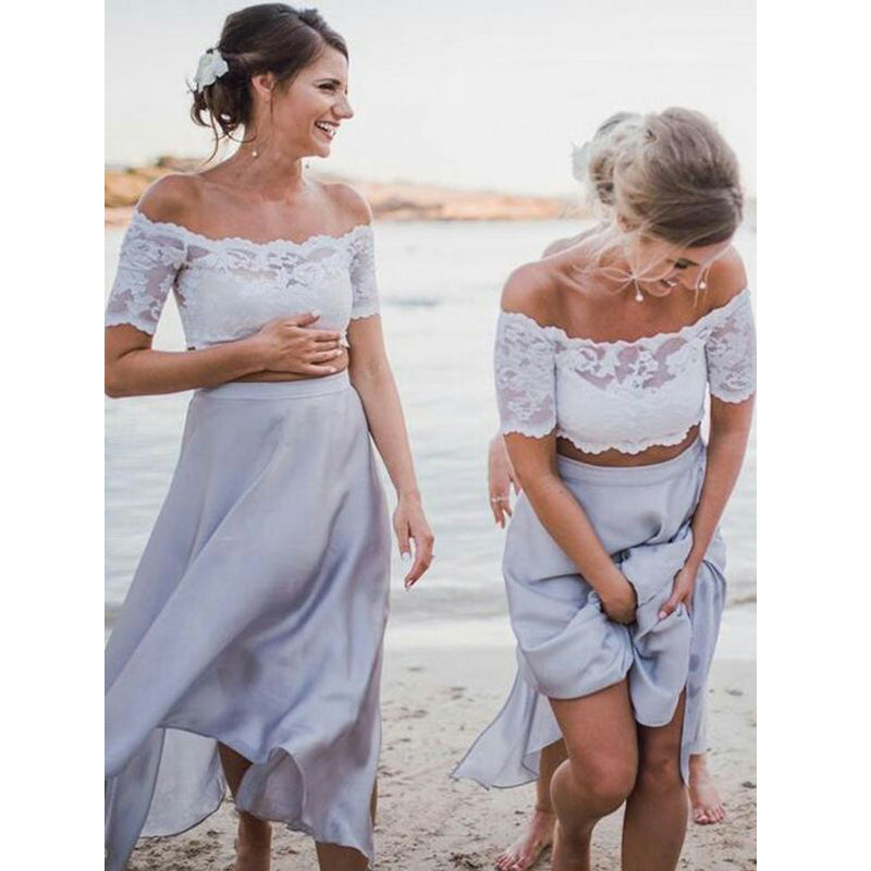 2 Pices Lace Off the Shoulder Short Sleeves Tea Length Wedding Bridesmaid Dresses, WG436 - Wish Gown