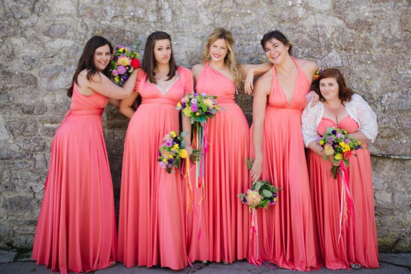 Convertible Watermelon Long Charming Wedding Party Bridesmaid Dresses, WG438 - Wish Gown