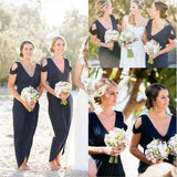 Navy Blue Jersey Off the Shoulder V Neck Cheap Long Wedding Party Bridesmaid Dresses, WG439