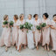 Charming Short Sleeves V Neck Cheap Long Wedding Party Bridesmaid Dresses, WG440 - Wish Gown