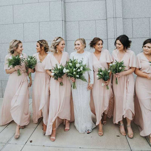 27b45f0fe7982 Charming Short Sleeves V Neck Cheap Long Wedding Party Bridesmaid Dresses,  WG440 - Wish Gown