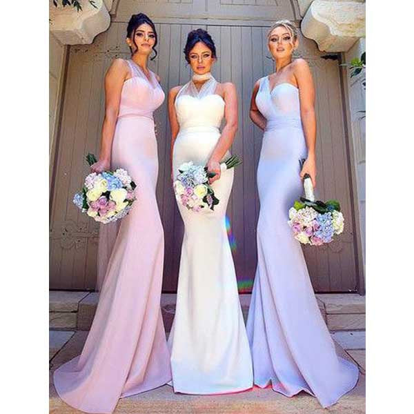 Charming Mermaid Convertible Open Back Long Wedding Party Bridesmaid Dresses, WG443 - Wish Gown