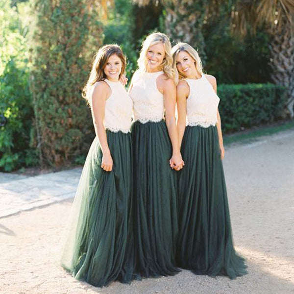 2 Pieces Off White Lace Teal Green Tulle Long Wedding Bridesmaid Dresses, WG448 - Wish Gown