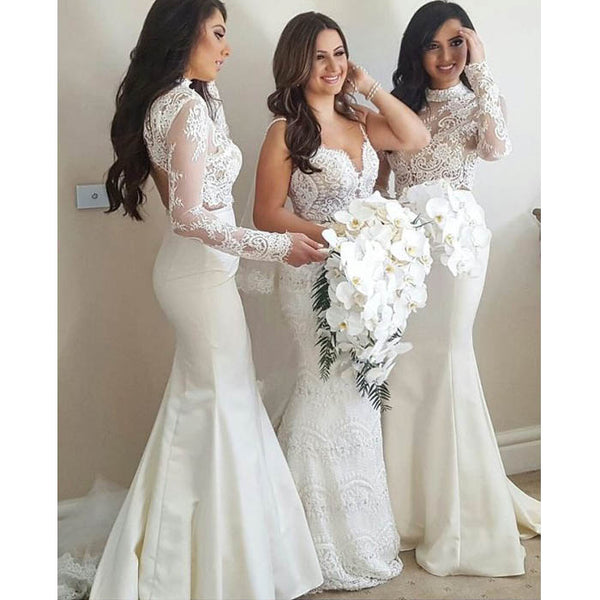 2 Pieces Long Sleeves Lace Sexy Mermaid Long Wedding Bridesmaid Dresses, WG449 - Wish Gown