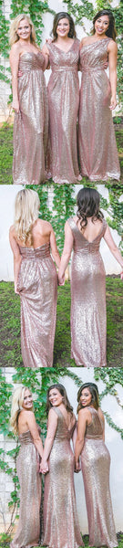 Rose Gold Sequin Mismatched Long Cheap Wedding Bridesmaid Dresses, WG450