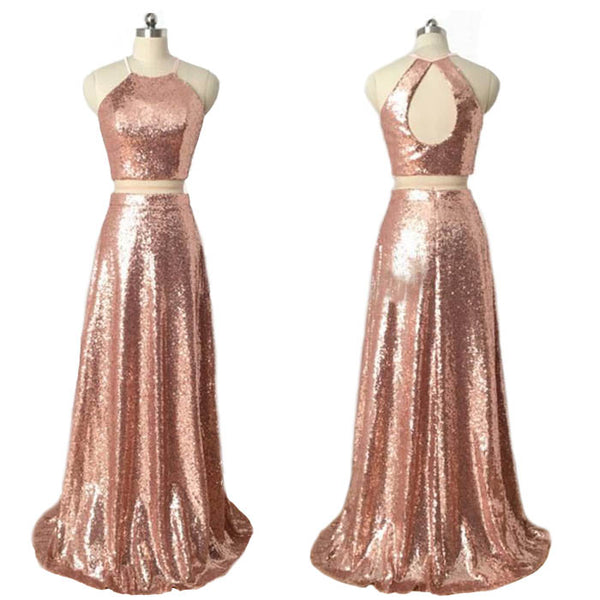 Popular Rose Gold Sequin Mismatched Long Cheap Wedding Bridesmaid Dresses, WG451