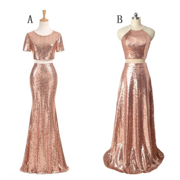 f3bf6fe5b49 Popular Rose Gold Sequin Mismatched Long Cheap Wedding Bridesmaid Dres –  Wish Gown