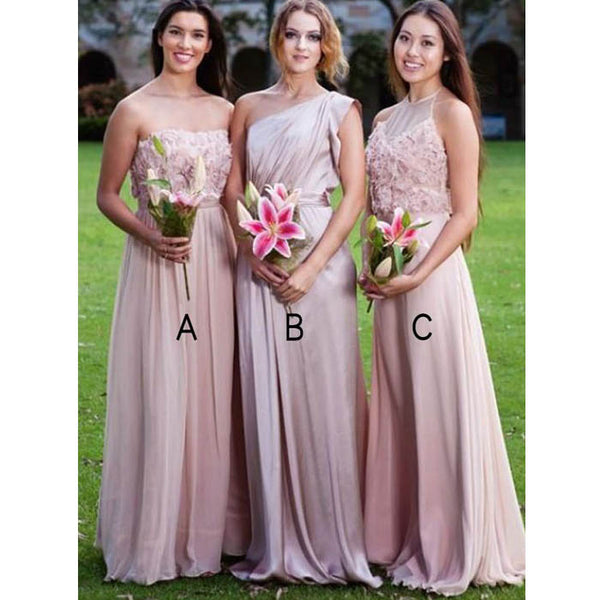 Unique Pink Mismatched Cheap Floor-Length Long Bridesmaid Dresses, WG452