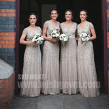 Charming Short Sleeves Beading Popular Long Wedding Bridesmaid Dresses, WG477 - Wish Gown