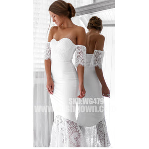 Short Sleeves Lace Sweetheart Mermaid Tea Length Bridesmaid Prom Dresses, WG479