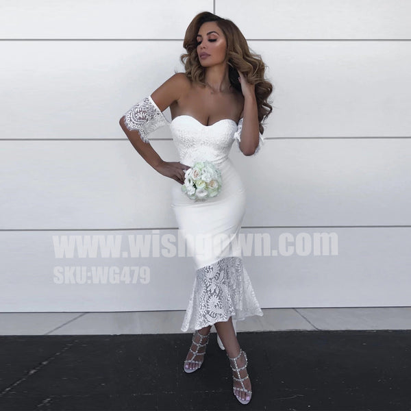 34e1c7797560a Short Sleeves Lace Sweetheart Mermaid Tea Length Bridesmaid Prom Dress –  Wish Gown