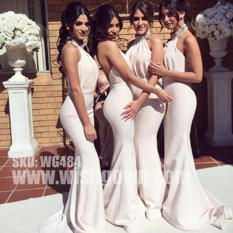 Charming Halter Mermaid Elegant Cheap Long Wedding Bridesmaid Dresses, WG484 - Wish Gown