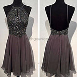 Dark grey sparkly special vintage open back sexy popular homecoming prom dress,BD0049 - Wish Gown