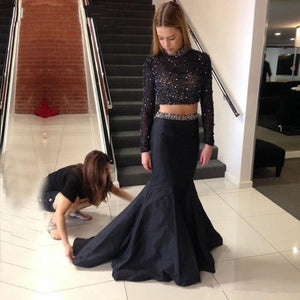 Black Two Pieces Sexy Mermaid Backless Long Sleeve High Neck Long Prom Dress, WG507