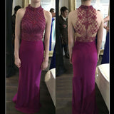 Unique High Neck Seen Through Back Sexy Mermaid Long Prom Dress, WG508