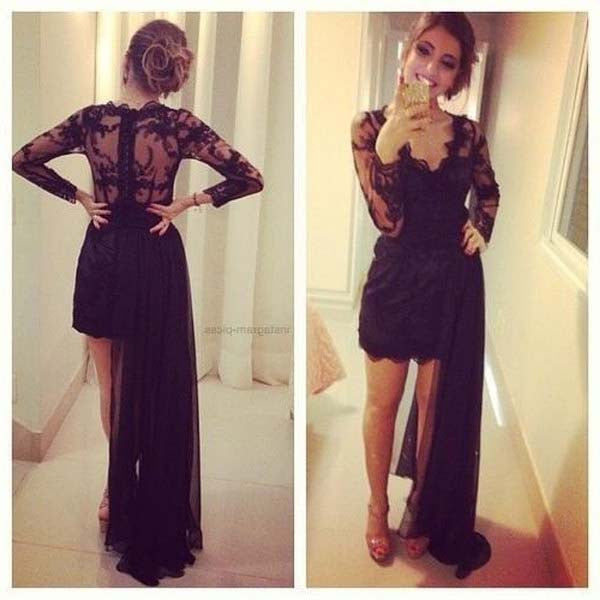 Unique Black Long Sleeve V Neck Lace Short Hi-lo Prom Dress, WG509