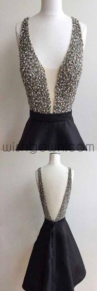 Short black open back sexy freshman homecoming prom dress,BD0050