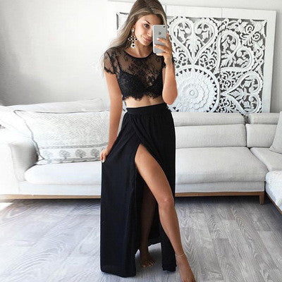 Black Lace Two Pieces Short Sleeve Sexy Side Slit Long Prom Dress, WG523 - Wish Gown