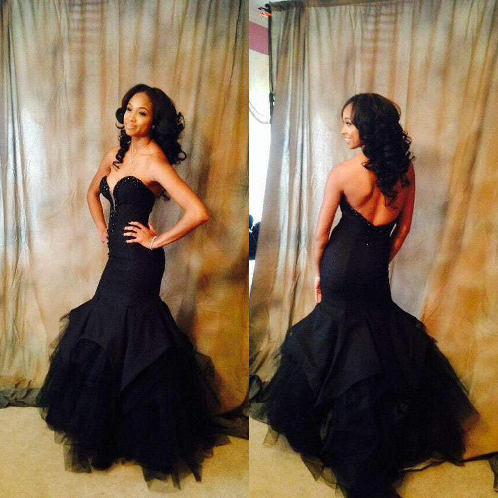 Unique Black Sweetheart Mermaid Elegant Sexy Long Prom Dress, WG531