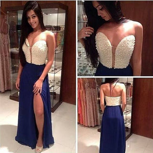 Sweetheart Side Slit Blue Sexy Junior Long Prom Dress, WG538
