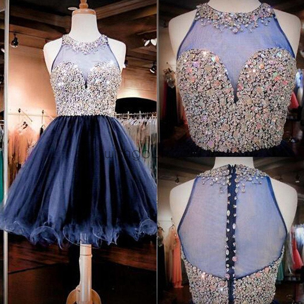 Blue off shoulder gorgeous see through tulle Bohemian charming homecoming prom dress,BD0053 - Wish Gown