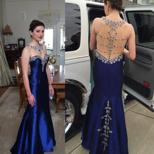 Unique Sexy See Through Back Elegant Cheap Long Prom Dress, WG542