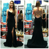 Sexy Black Side Slit Open Back Cheap Long Prom Dress, WG543