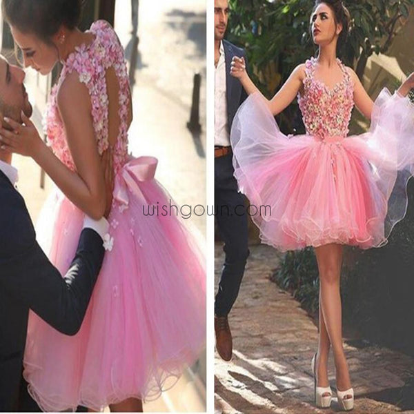 Blush pink appliques lovely casual freshman graduation homecoming prom dress,BD0054 - Wish Gown