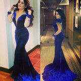 Royal Blue Deep V Neck Long Sleeves Sexy Mermaid Long Prom Dress, WG551