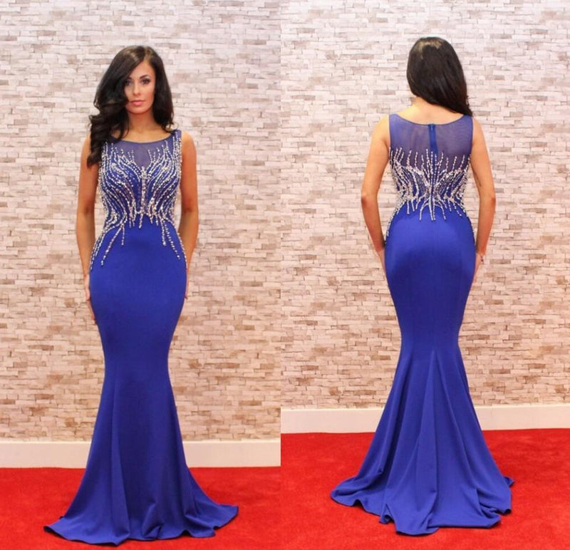 Royal Blue Mermaid Elegant Cheap Long Prom Dress, WG559
