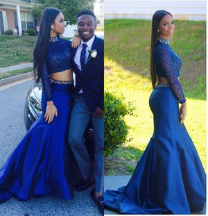 Two Pieces Royal Blue High Neck Mermaid Long Sleeves Long Prom Dress, WG561