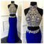 Sexy 2 Pieces Gorgeous Royal Blue High Neck Long Prom Dress, WG564