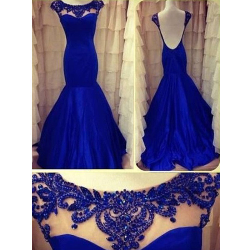 Roayl Blue Cap Sleeve Low Back Mermaid Long Prom Dress, WG570