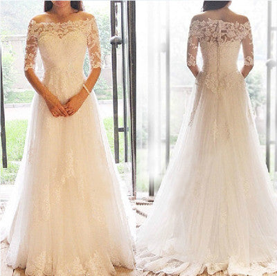 Gorgeous Off Shoulder Half Sleeve Custom Make Mermaid Lace Wedding Party Dresses, WD0093 - Wish Gown