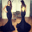 Black Mermaid Open Back Unique Sexy Long Prom Dress, WG575