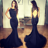 Black Mermaid Open Back Unique Sexy Long Prom Dress, WG575 - Wish Gown