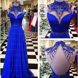 Gorgeous Beaded High Neck Roayl Blue Backless Long Prom Dress, WG576 - Wish Gown