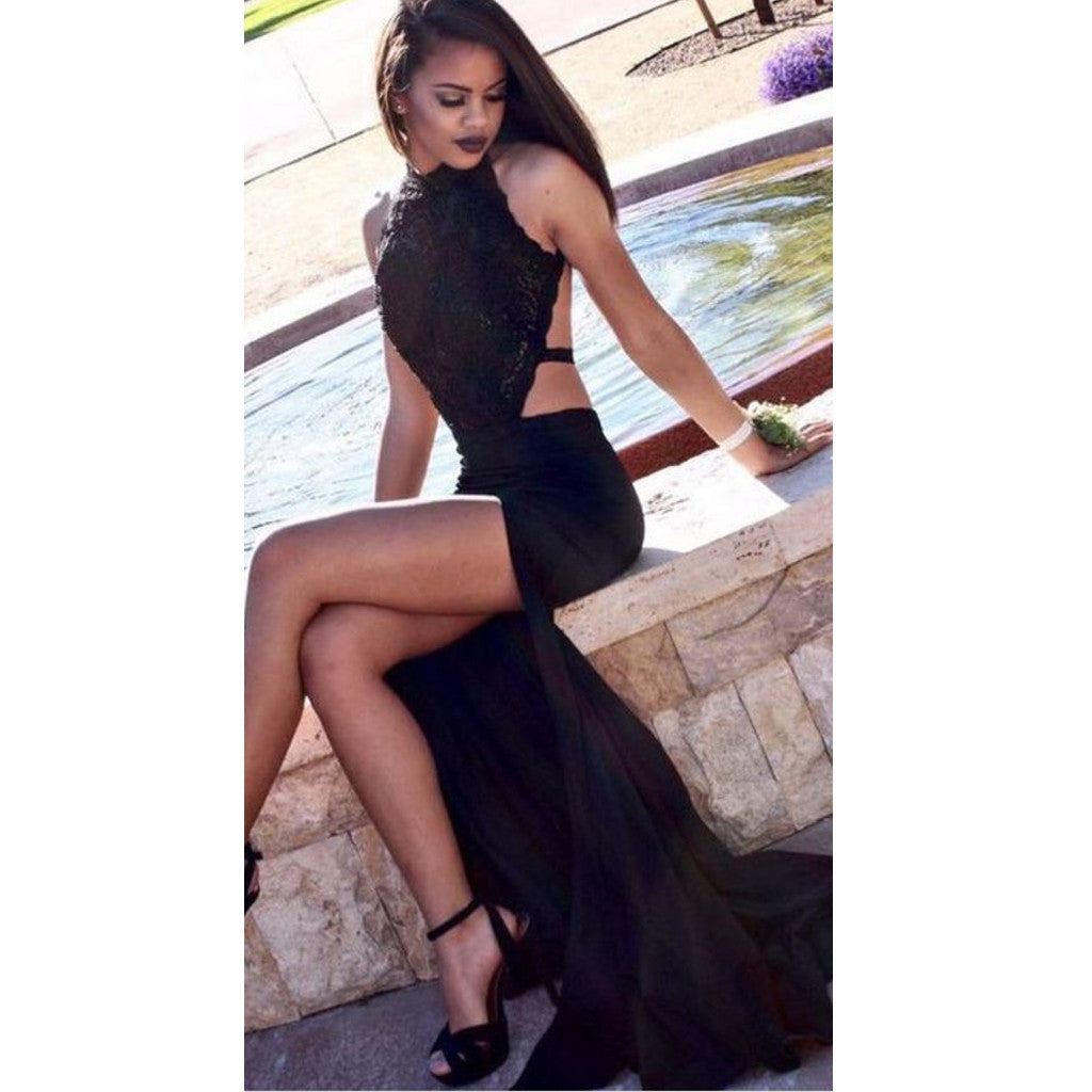 Black Lace Sexy Open Back Cheap Long Prom Dresses, WG579 - Wish Gown