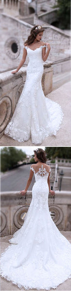 Charming Off Shoulder Sexy Mermaid White Lace Bridal Gown, Wedding Dresses, WD0058 - Wish Gown